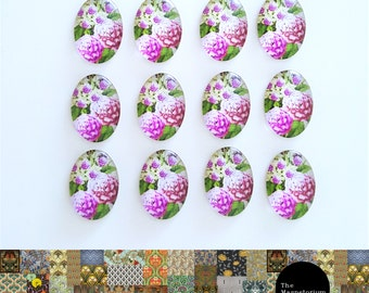 Hydrangea Glass Cabochon Fridge Magnet Set