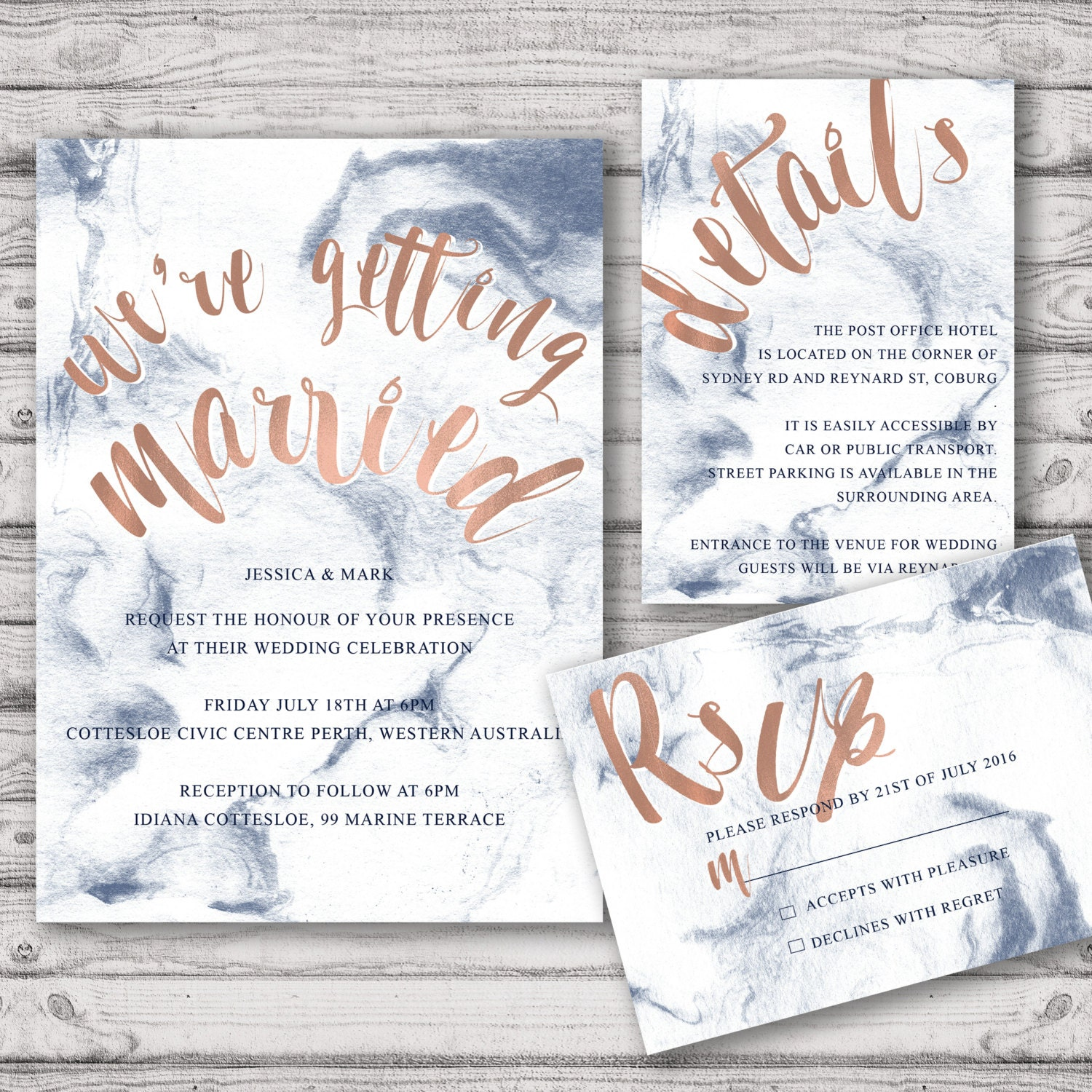 Rose Gold Marble Wedding Invitation Suite - Print at Home Files or ...