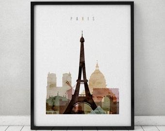 Paris Watercolor Print Paris Watercolor Poster Wall Art Paris Skyline Cities Poster