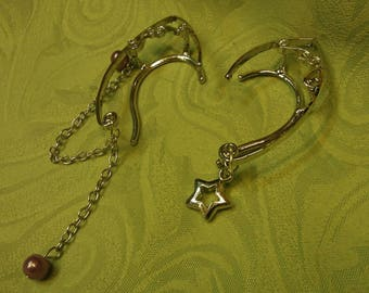 Pair of silvertone elf ear cuffs - star and chain #2