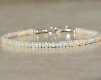 Opal Bracelet, October Birthstone Bracelet, Ethiopian Opal Jewelry, Bead Bracelet, Gemstone Bracelet, Opal Birthstone, Graduation Gift