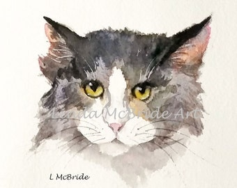Cute cat 3x3 gift enclosure card from my original watercolor painting with envelope.