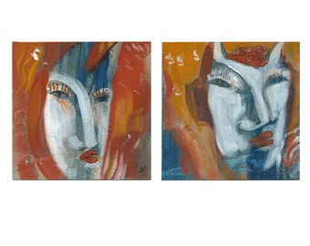 Mrs & Mr Teufel 2 x 15/15 cm (2 x 5.9/5.9 inches) Diptych, portrait