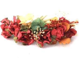 Red,orange,green,flower,hydrangea,barrette,comb,hair,complement,natural,boho