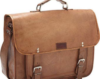 Large Genuine Leather Brief/Messenger Laptop Bag with Padded i-PAD Sleeve and Slide Locks