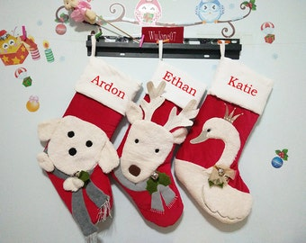 luxury bells monogrammed christmas stocking christmas elk stockings funny christmas stockings ornaments - Monogrammed Christmas Stockings