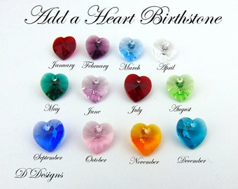 Add a Heart Birthstone, Personalise your Jewellery