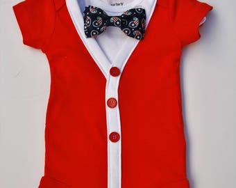 Patriotic Red Short Sleeve Cardigan