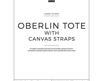Learn To Sew Oblerlin Market Tote Bag with CANVAS STRAPS - Full Pattern and Instructions Downloadable PDF: Easy, Beginner tote bag pattern