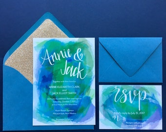Custom Wedding Invitation + Response Card, Wedding Invitation, Wedding Invitation Set, Printed Invitations with Lined Envelopes