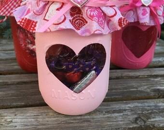 Valentine Mason Jar / Heart Mason Jar / Valentine candy jar