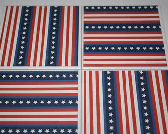 Patriotic decor/ceramic tile/drink coasters/patriotic gifts/summer decor/gift for him/gift for her/red white and blue/4th of July