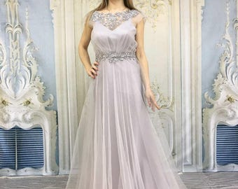 Light grey Vintage Inpired Wedding Dress with Tulle Layer,Open Cutout Back,Crystal Belt, Embroidered by Hand with Swarovski Crystals