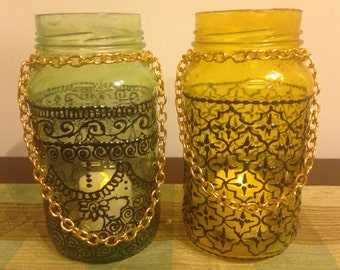 2 Bohemian Moroccan Mason Jars Lanterns, Moroccan Lamps, Tinted Mason Jars, Candleholders, Boho Lanterns, Jars,