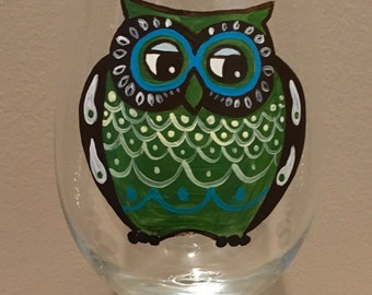Handpainted retro owl wine glass