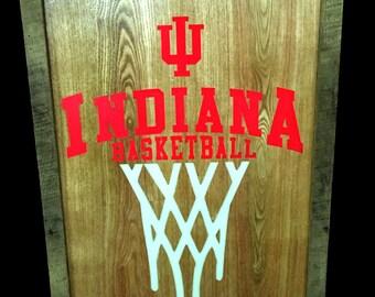 Reclaimed Barnwood Wall Art Indiana Hoosiers Basketball with Glow-in-the-Dark