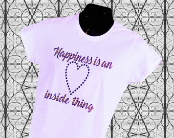 Happiness Is An Inside Thing - 100% cotton t-shirt, lavender with purple lettering and purple holographic heart.