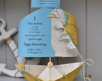 Anniversary Card, Nautical Chart, 1st Anniversary, Paper Anniversary, Paper boat, Personalised Card, Anniversary Card, 1st Anniversary Card