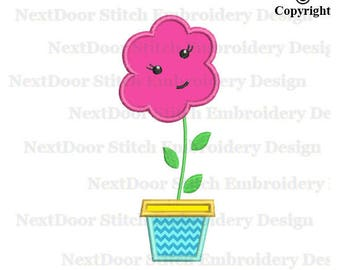 Flower embroidery applique design, girly flower machine embroidery design,  fls-059