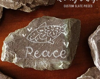 Animal slate paperweight, rock pets, stone pets, pet rocks, pet stones. garden marker, plant marker, office decor, nursery decor, pet slate