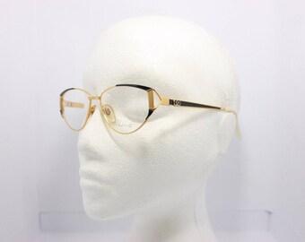 Diva Vintage eyeglasses Made in Italy 5022 Gold Black 01 54mm