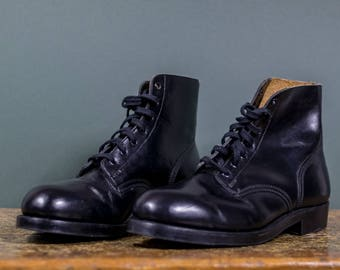 Black Leather Steel Toed Combat Boots // Men's Motorcycle Boots Size 10.5 F [Women's 12.5]