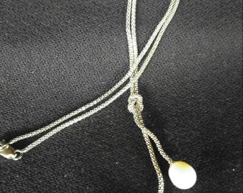 Double pearl lariat sterling silver chain