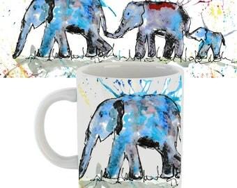 Elephant mug, elephant gift, elephant, elephant family, ceramic mug, elephant cup, animal mug