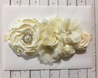 Ivory Baby Headband Vintage Baby Headband Flowers Baby Headband Fancy Headband Flower Girl Headband Ivory Flowers Headband