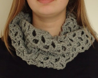 Grey Cowl Scarf Crochet Handmade Ladies