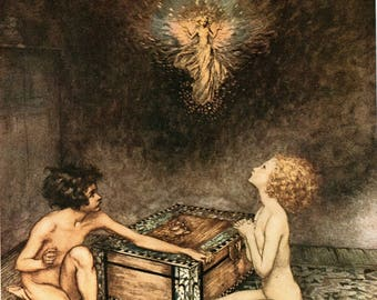 Arthur Rackham Pandora's Box Print Fairy Tale Hope Emerged Beautiful Dragonfly Greek Mythology Enchanted Vintage Home Decor Wall Hanging