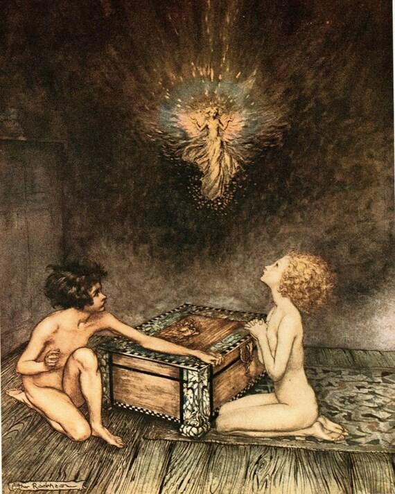 arthur rackham pandora s box print fairy tale hope emerged like this item