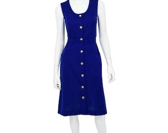 1960's Vintage Women's M Cobalt Blue Button Front Shirt Dress Sleeveless Knit Dress