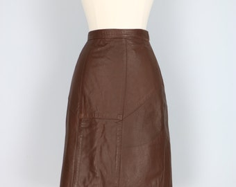"1980's Skirt - Brown Leather Pencil Skirt - Vintage Dark Brown Chocolate Sexy Leather Pencil Skirt - Small/XS Waist 25"" - 26"""