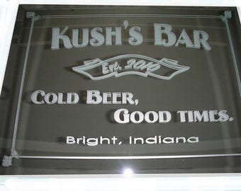 Personalized Bar Mirror, Custom Personalized Mirror, Custom Sandblasted Mirror, Etched Bar Mirror, Custom Bar Mirror, Large Mirror,  16x20