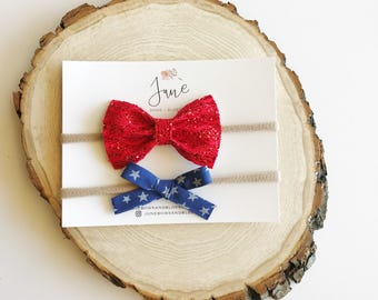Fourth of July bows, July 4th headbands, red white and blue bows