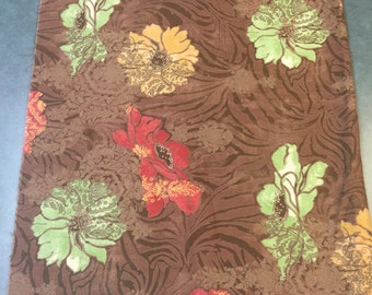 Moda Fabric. Floral Brown Fabric. FQ. Floral Fabric Brown Quilting Cotton. Basic Grey Moda Fabric. Urban Couture Fabric.
