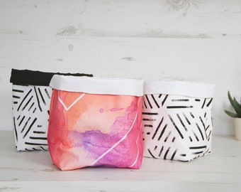 3x Modern Fabric storage baskets set, bookshelf storage organizer, housewarming gift