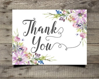 Purple Floral Wedding Thank You Card Printable Boho Chic Wedding Suite Bohemian Wedding Thank You Card Modern Typography