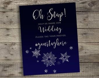 Navy Wedding Hashtag Sign, Snowflake Custom Hashtag Sign, Instagram Sign, Instagram Sign In, Instagram Frame Prop, Instagram Frame