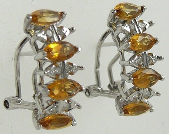 Citrine Earring 2ct 14k White Gold with Diamonds 0.13ct