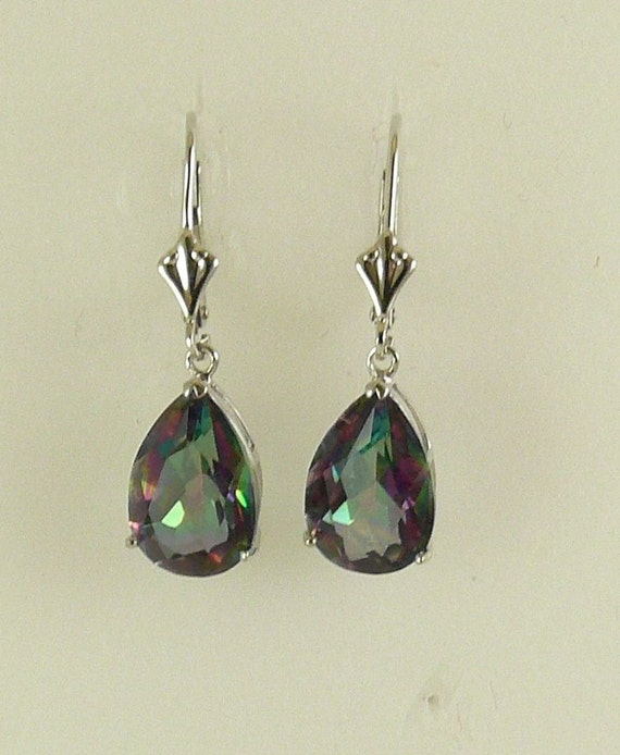Mystic Topaz 5.8ct Hanging Earrings With 14k White Gold And LeverBacks
