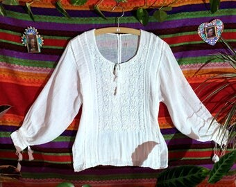 Mexican Summer Blouse - white cotton blouse - womens blouse - hand embroidered blouse - spring blouse - Mexican folk art - Mayan - handcraft