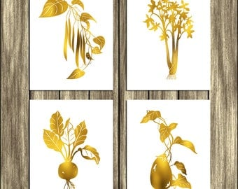 Vegetables Printable Art Set of 4 Prints Gold White Wall Kitchen Decor Veggies Peas Celery Aubergine Beets Digital Art / Instant Download