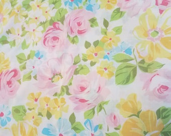 Twin floral/rose flat sheet yellow, pink and blue