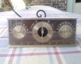 Vintage Honeywell Tri Dial Desk Top Weather Station  featuring Temperature /  Barometer / Hygrometer Pressure with Brass & Glass Finish