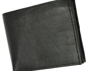 Premium Leather Bifold Side Flap with Snap ID Card Holder Wallet Black And Brown P 1533