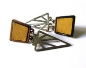 Geometric mustard yellow leather stainless steel earrings