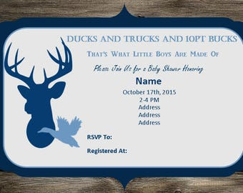 Duck and Deer Baby Shower Invite and Diaper Raffle