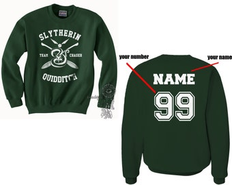 CHASER - Custom back Slyth Quidditch team Chaser WHITE print on Forest green Crew neck Sweatshirt